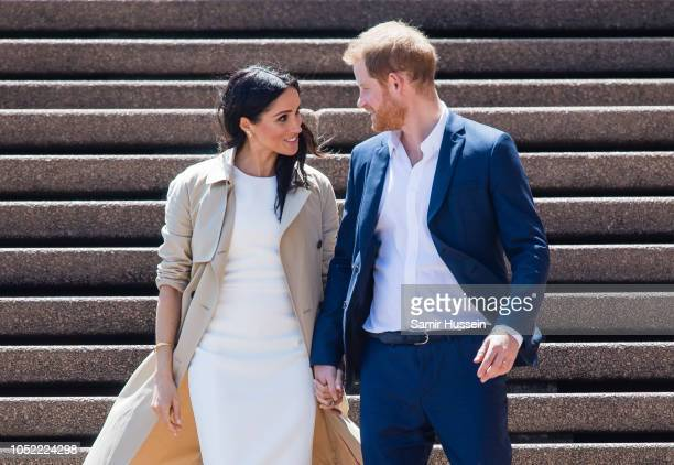 Meghan, Duchess of Sussex and Prince Harry, Duke of Sussex take part in a public walkabout at the Sydney Opera House on October 16, 2018 in Sydney,...