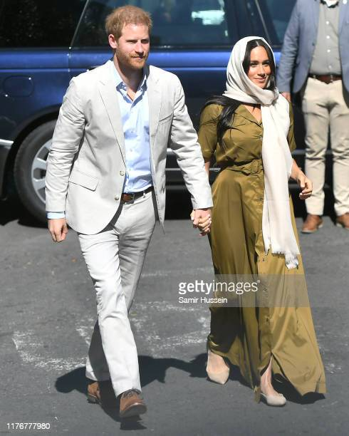 Meghan Duchess of Sussex and Prince Harry Duke of Sussex visit Auwal Mosque in the BoKaap neighbourhood during their royal tour of South Africa on...
