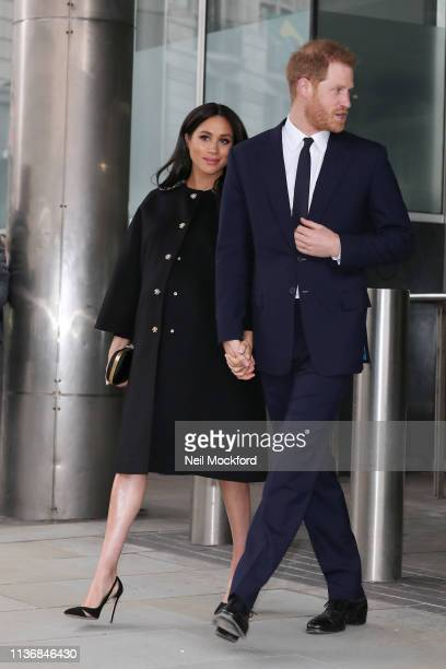 Meghan Duchess of Sussex and Prince Harry Duke of Sussex visit New Zealand House to sign the book of condolence on behalf of the Royal Family on...