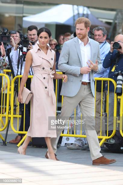 Meghan, Duchess of Sussex and Prince Harry, Duke of Sussex visit The Nelson Mandela Centenary Exhibition at the Queen Elizabeth Hall on July 17, 2018...