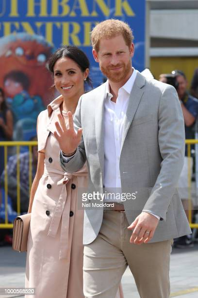 Meghan Duchess of Sussex and Prince Harry Duke of Sussex depart The Nelson Mandela Centenary Exhibition at the Queen Elizabeth Hall on July 17 2018...