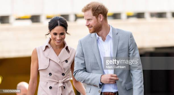 Meghan Duchess of Sussex and Prince Harry Duke of Sussex visit The Nelson Mandela Centenary Exhibition at Southbank Centre on July 17 2018 in London...