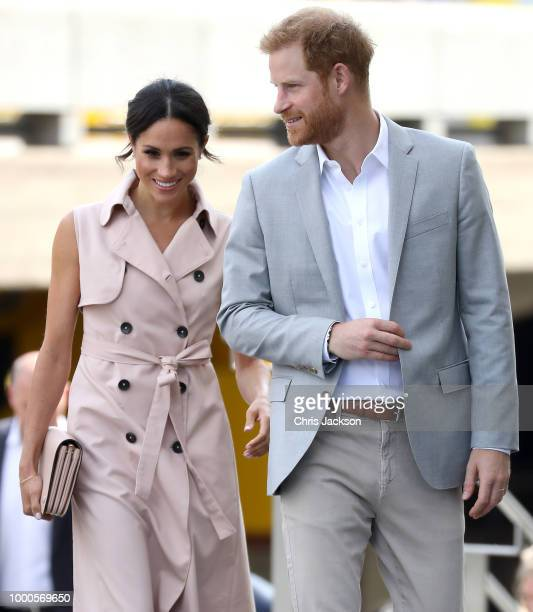 Meghan Duchess of Sussex and Prince Harry Duke of Sussex visit the Nelson Mandela Centenary Exhibition at Southbank Centre's Queen Elizabeth Hall on...