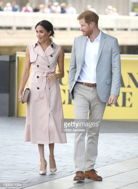 Meghan, Duchess of Sussex and Prince Harry, Duke of Sussex visit the Nelson Mandela Centenary Exhibition at Southbank Centre's Queen Elizabeth Hall...