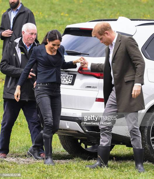 Meghan Duchess of Sussex and Prince Harry Duke of Sussex visit the North Shore to dedicate a 20hectare area of native bush to The Queen's...