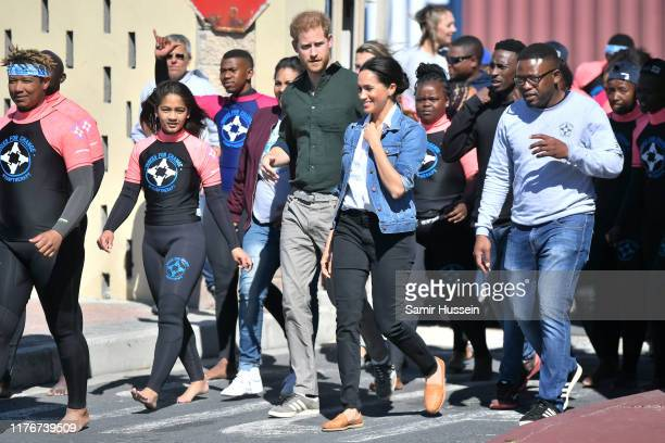 Meghan Duchess of Sussex and Prince Harry Duke of Sussex visit Waves for Change an NGO at Monwabisi Beach during their royal tour of South Africa on...