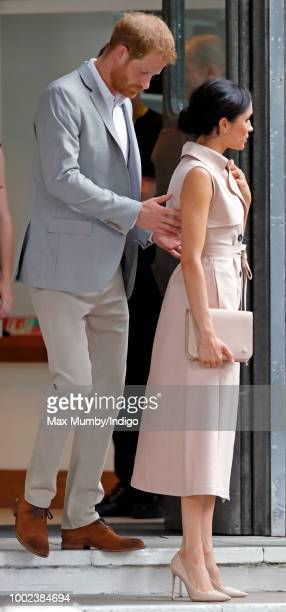 Meghan Duchess of Sussex and Prince Harry Duke of Sussex visits The Nelson Mandela Centenary Exhibition at the Southbank Centre on July 17 2018 in...