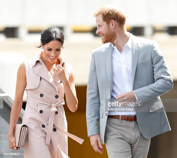 Meghan, Duchess of Sussex and Prince Harry, Duke of Sussex visits The Nelson Mandela Centenary Exhibition at the Southbank Centre on July 17, 2018 in...