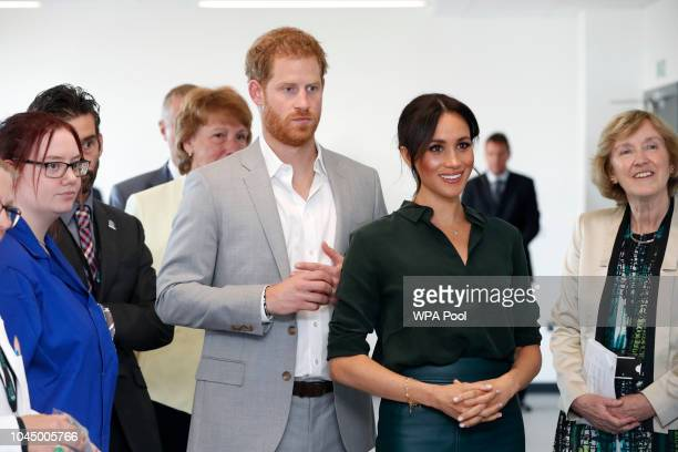 Meghan Duchess of Sussex and Prince Harry Dukeof Sussex at The University of Chichester Tech Park during an official visit to Sussex on October 3...