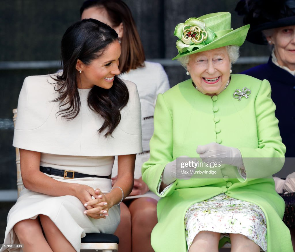 Meghan, Duchess of Sussex and Queen Elizabeth II attend a ceremony to open the new Mersey Gateway Bridge on June 14, 2018 in Widnes, England. Meghan Markle married Prince Harry last month to become The Duchess of Sussex and this is her first engagement with the Queen. During the visit the pair will open a road bridge in Widnes and visit The Storyhouse and Town Hall in Chester.