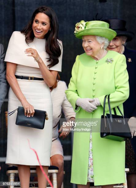 Meghan, Duchess of Sussex and Queen Elizabeth II attend a ceremony to open the new Mersey Gateway Bridge on June 14, 2018 in Widnes, England. Meghan...