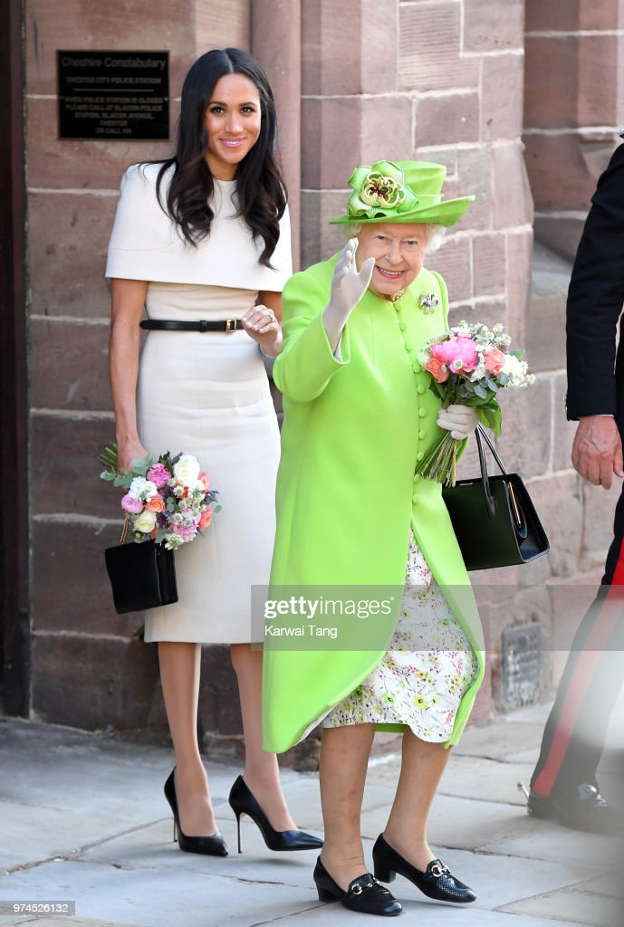 Meghan, Duchess of Sussex and Queen Elizabeth II depart Chester Town Hall, where they attended lunch as guests of Chester City Council on June 14, 2018 in Chester, England. Meghan Markle married Prince Harry last month to become The Duchess of Sussex and this is her first engagement with the Queen. During the visit the pair opened a road bridge in Widnes and visited The Storyhouse in Chester.
