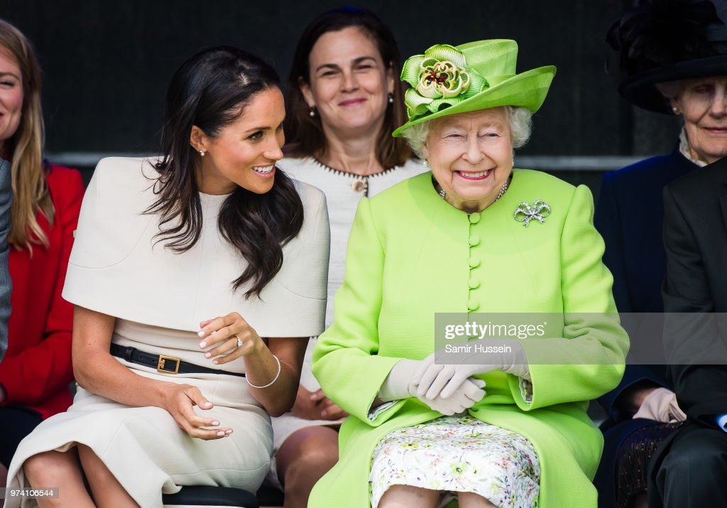 Meghan, Duchess of Sussex and Queen Elizabeth II open the new Mersey Gateway Bridge on June 14, 2018 in Widness, England.