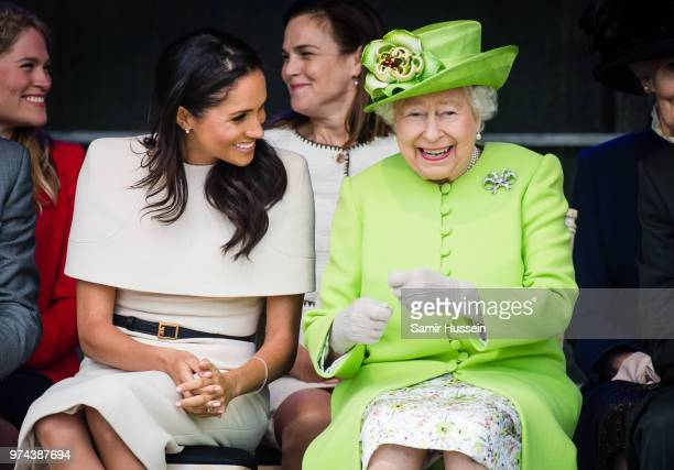 Meghan Duchess of Sussex and Queen Elizabeth II open the new Mersey Gateway Bridge on June 14 2018 in Widness England