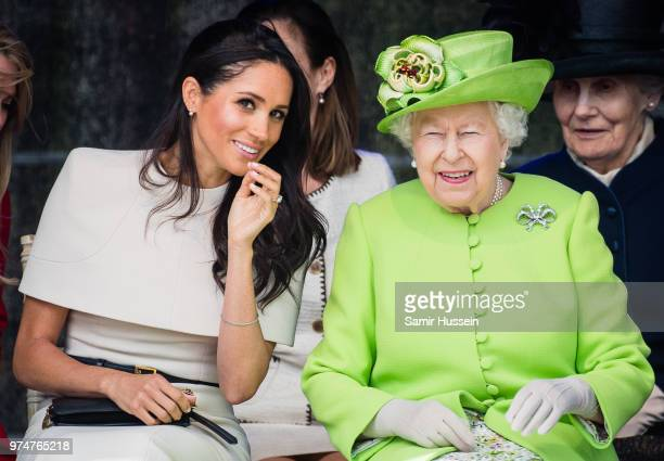 Meghan Duchess of Sussex and Queen Elizabeth II open the new Mersey Gateway Bridge on June 14 2018 in Widness England