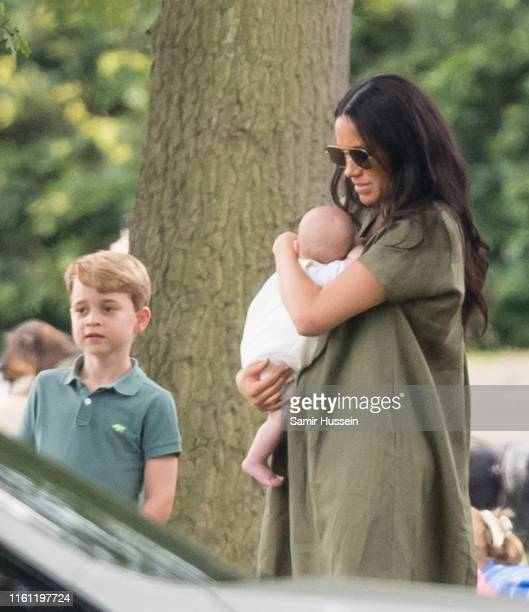 Meghan, Duchess of Sussex, Archie Harrison Mountbatten-Windsor and Prince George of Cambridge attend The King Power Royal Charity Polo Day at...