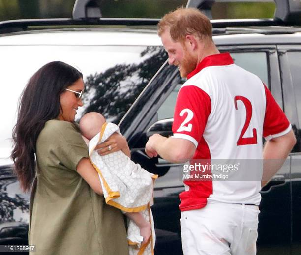 Meghan, Duchess of Sussex, Archie Harrison Mountbatten-Windsor and Prince Harry, Duke of Sussex attend the King Power Royal Charity Polo Match, in...