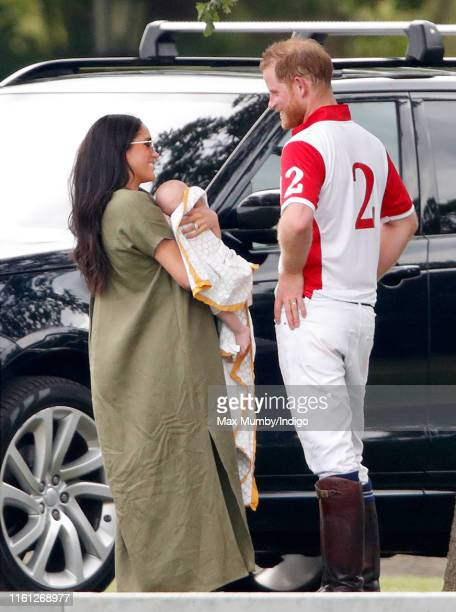 Meghan Duchess of Sussex Archie Harrison MountbattenWindsor and Prince Harry Duke of Sussex attend the King Power Royal Charity Polo Match in which...