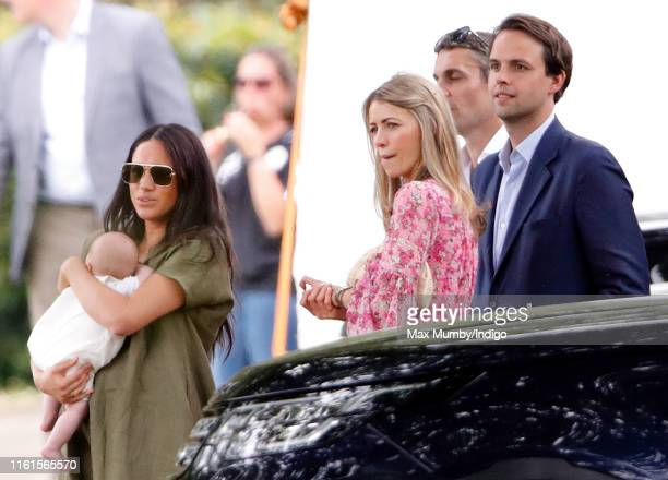 Meghan Duchess of Sussex Archie Harrison MountbattenWindsor Anneke Gilkes Adam Bidwell and Charlie Gilkes attend the King Power Royal Charity Polo...