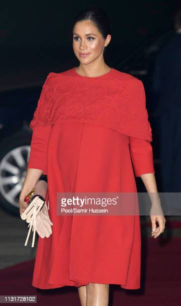 Meghan Duchess of Sussex arrive at Casablanca airport on February 23 2019 in Casablanca Morocco