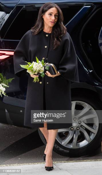 Meghan Duchess of Sussex arrive to sign a book of condolence at New Zealand House on March 19 2019 in London England following the recent terror...