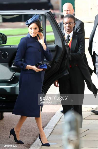 Meghan, Duchess of Sussex arrives ahead of the wedding of Princess Eugenie of York to Jack Brooksbank at Windsor Castle on October 12, 2018 in...
