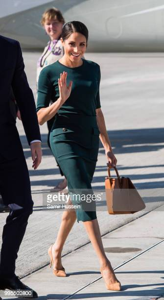 Meghan Duchess of Sussex arrives at Dublin Airport during their visit to Ireland on July 10 2018 in Dublin Ireland