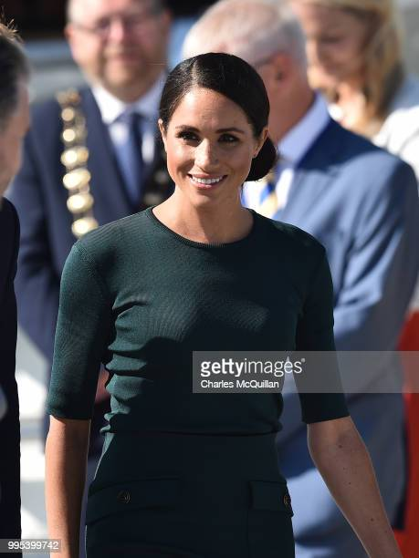 Meghan Duchess of Sussex arrives at Dublin city airport on their official two day royal visit to Ireland on July 10 2018 in Dublin Ireland It is the...