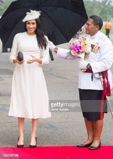 Meghan Duchess of Sussex arrives at Nausori Airport on October 23 2018 in Suva Fiji The Duke and Duchess of Sussex are on their official 16day Autumn...