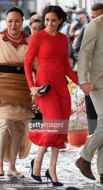 Meghan, Duchess of Sussex arrives at Nuku'alofa airport on October 25, 2018 in Nuku'alofa, Tonga. The Duke and Duchess of Sussex are on their...
