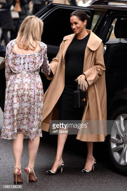 Meghan Duchess of Sussex arrives at Smart Works on January 10 2019 in London United Kingdom Smart works is one of the four organisations which she...