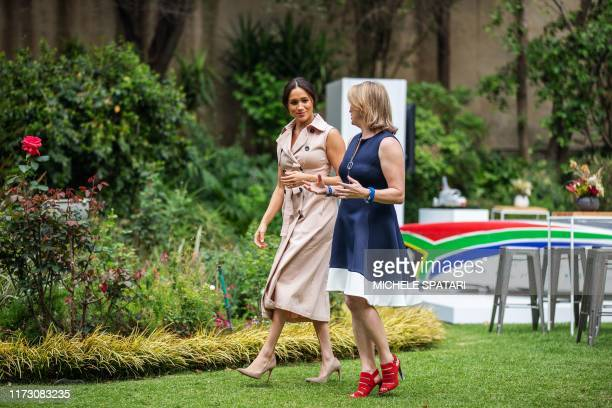 Meghan Duchess of Sussex arrives at the British High Commissioner residency in Johannesburg where she will meet with Graca Machel widow of former...