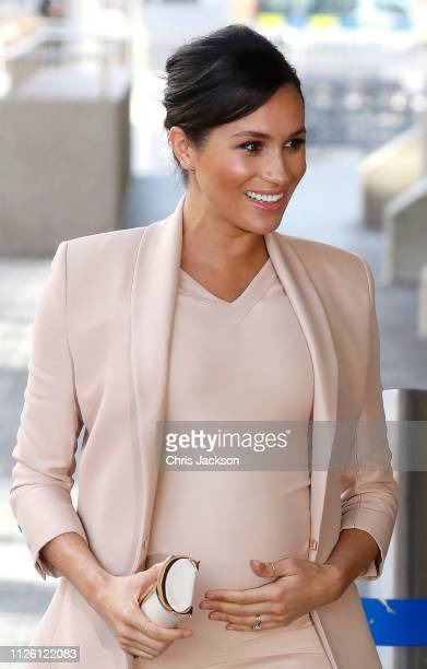 Meghan Duchess of Sussex arrives at The National Theatre on January 30 2019 in London England Earlier this month The Duchess was announced as Patron...