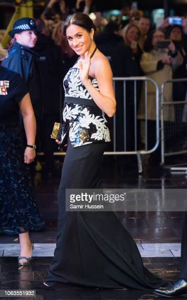 Meghan Duchess of Sussex arrives at The Royal Variety Performance 2018 at London Palladium on November 19 2018 in London England