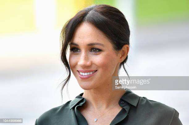 Meghan Duchess of Sussex arrives at the University of Chichester's Engineering and Digital Technology Park during an official visit to Sussex on...