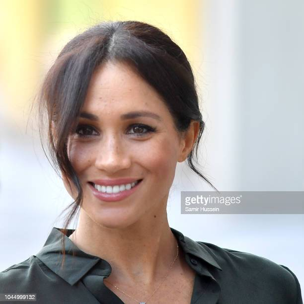 Meghan, Duchess of Sussex arrives at the University of Chichester's Engineering and Digital Technology Park during an official visit to Sussex on...