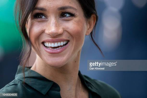 Meghan Duchess of Sussex arrives at the University of Chichester's Engineering and Digital Technology Park during an official visit to West Sussex on...