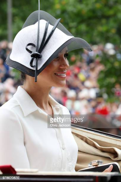 Meghan Duchess of Sussex arrives by carriage to Royal Ascot Day 1 at Ascot Racecourse on June 19 2018 in Ascot United Kingdom