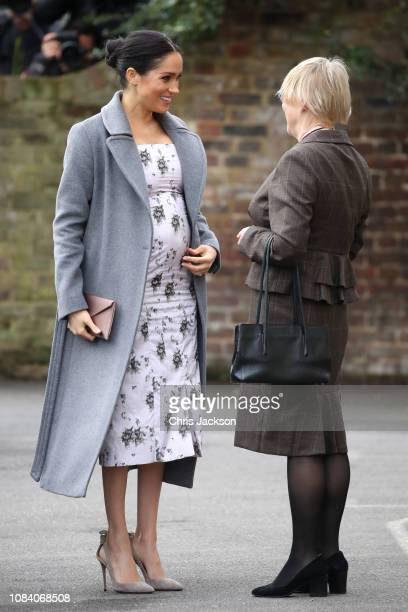 Meghan Duchess of Sussex arrives for a visit to the Royal Variety Charity's at Brinsworth House on December 18 2018 in Twickenham England The visit...