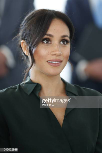 Meghan Duchess of Sussex arrives for an engagement at University of Chichester Tech Park during an official visit to Sussex on October 3 2018 in...