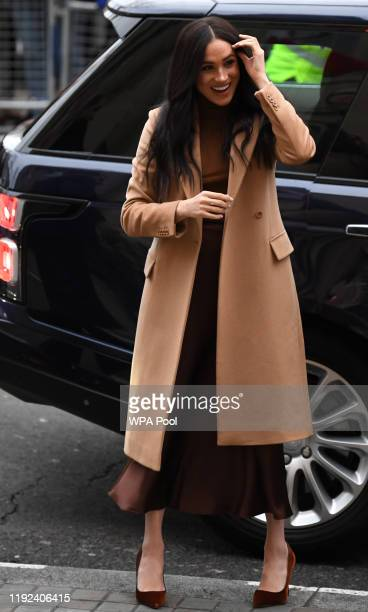 Meghan, Duchess of Sussex arrives for her visit with Prince Harry to Canada House in thanks for the warm Canadian hospitality and support they...