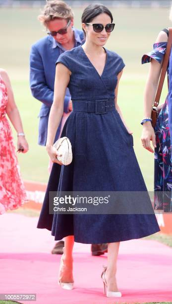 Meghan Duchess of Sussex arrives for the Sentebale Polo 2018 held at the Royal County of Berkshire Polo Club on July 26 2018 in Windsor England