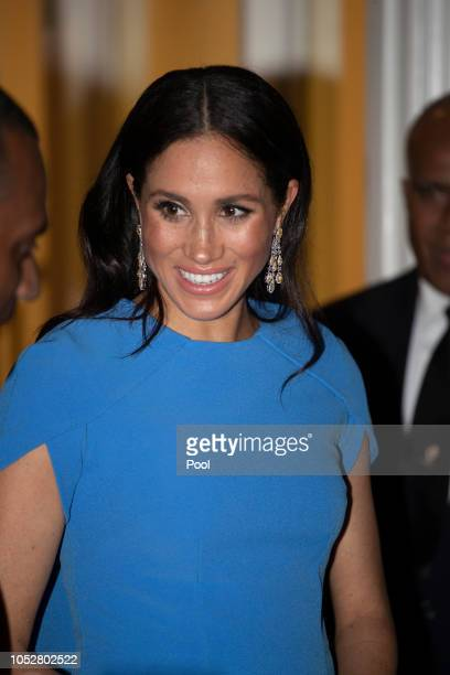 Meghan Duchess of Sussex arrives for the State dinner on October 23 2018 in Suva Fiji The Duke and Duchess of Sussex are on their official 16day...