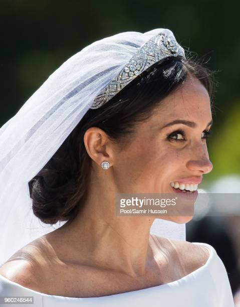 Meghan, Duchess of Sussex arrives for the wedding of Prince Harry to Ms Meghan Markle at St George's Chapel, Windsor Castle on May 19, 2018 in...