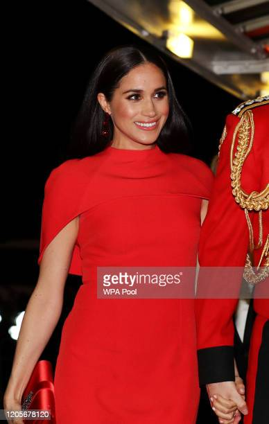 Meghan Duchess of Sussex arrives to attend the Mountbatten Music Festival at Royal Albert Hall on March 7 2020 in London England