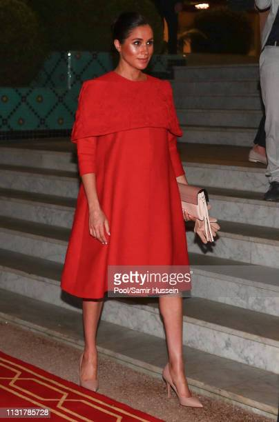 Meghan, Duchess of Sussex arrives to meet Crown Prince of Morocco, Moulay Hassan at a Royal Residence on February 23, 2019 in Rabat, Morocco.