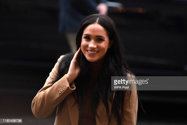 Meghan Duchess of Sussex arrives with Prince Harry Duke of Sussex to Canada House in thanks for the warm Canadian hospitality and support they...