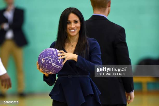 Meghan Duchess of Sussex attend the Coach Core Awards at Loughborough University in Loughborough central England on September 24 2018 Their Royal...