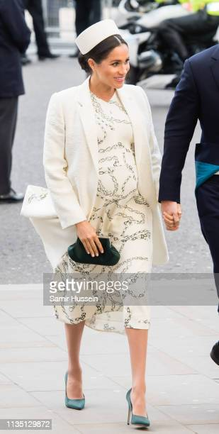 Meghan Duchess of Sussex attend the Commonwealth Day service at Westminster Abbe6 on March 11 2019 in London England