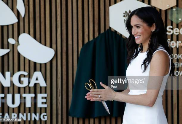 Meghan, Duchess of Sussex attends a ceremony at Taronga Zoo on October 16, 2018 in Sydney, Australia. The Duke and Duchess of Sussex are on their...